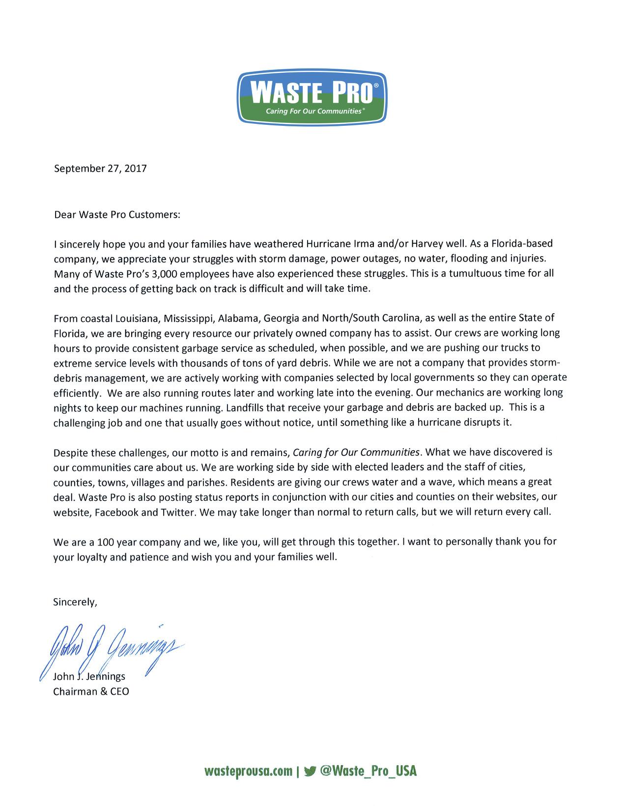 Storm Letter From Chairman & CEO John Jennings